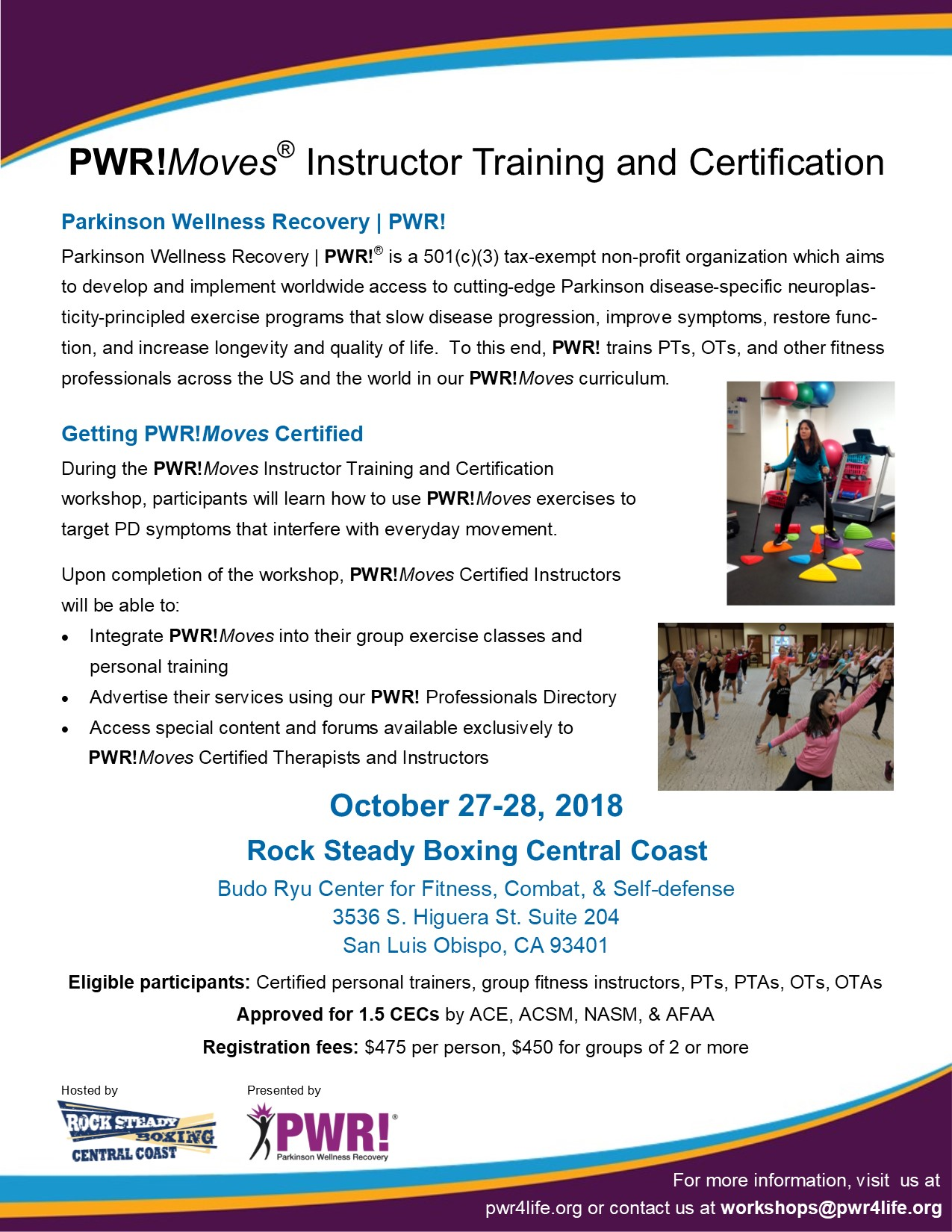 Upcoming Pwr Instructor Workshops Parkinson Wellness Recovery Pwr